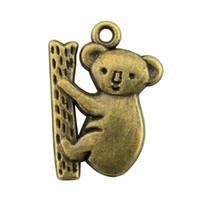 ingrosso ciondolo da orsacchiotto di koala-100 pz Australia Koala Charms Koala Charms Per Monili Che Fanno 2 Colori Placcato Gioielli FAI DA TE Accessori Orso Pendenti Ciondolo 14x20mm