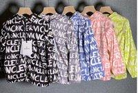 marcas para crianças venda por atacado-Moda Infantil verão carta de marca impressão M jaquetas roupas de proteção Solar roupas Outwears com Chapéus Casacos de Zíper para 3-12 T