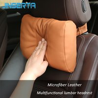 Wholesale pu head covers resale online - JINSERTA PU Leather Car Headrest Neck Pillow Auto Seat Back Support Travel Pillow Chairs Cover Soft Head Restraint