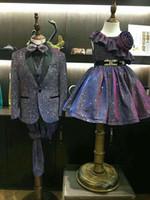 jaqueta de terno brilhante preto venda por atacado-Shiny Boy Ocasião FormalTuxos Black Shawi Lapela Um Botão Crianças Casamento Smoking Criança Terno roupas de Férias (Jaqueta + Calça + Gravata + Colete) 8
