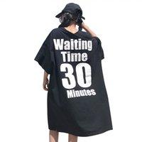 ingrosso camicia manica lunga manica lunga-Maxi Long T Shirt Donna Summer Beach Mezze maniche Casual Boho T-shirt Oversize Lettera allentata Stampato Tops Street Fashion Clothes
