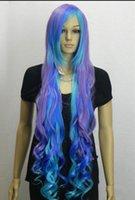 ingrosso parrucca blu viola mix-Parrucca per capelli resistenti al calore e molto resistenti alla modaNew Fashion Charming Mix Purple Blue Long Curly Wig