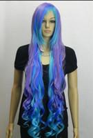 mor mavi karışık peruk toptan satış-PERUK Sıcak isıya dayanıklı Parti hairNew Moda Büyüleyici Mix Mor Mavi Uzun Kıvırcık kadın Peruk