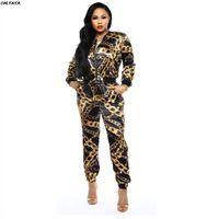 chaqueta con cuello redondo al por mayor-2019 nuevas mujeres con cadena impresa con cremallera y cuello redondo chaquetas lápiz pantalones largos trajes conjunto de dos piezas traje chándal GLX9108