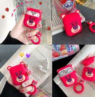 ingrosso orsi di fragole-11 DHL new Strawberry Bear Cuffie Cover Custodia protettiva in silicone per cuffie Cuffie AirPods