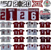 große trikots groihandel-NCAA Oklahoma Sooners 1 Jalen Hurts Jersey CeeDee Lamb 6 Baker Mayfield Kyler Murray Kennedy Brooks Rot Weiß College Football Big 12 XI