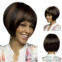 Wholesale black beauty wigs resale online - Women s short straight hair wig wig beauty African European and American popular wig