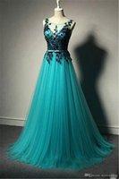 v boyun turkuaz gece elbisesi toptan satış-Turkuaz Sheer Boyun Dantel V Geri Artı Boyutu Hamile Kadınlar için Elbise Orta Doğu Balo Abiye Reals Uzun Arapça Dantel Abiye