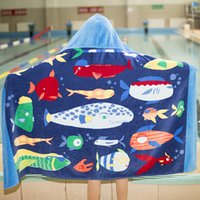 toallas de baño para niños al por mayor-Niños de dibujos animados con capucha Manta de playa Algodón Súper absorbente Toalla de baño Baño Nadar Toalla de piscina Toalha Capa del cabo Toalla para niños