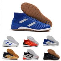 zapatos de tango azul al por mayor-Botas de fútbol Predator 19.3 TF IC de alta calidad 2019 Triple Negro Azul Tango Zapatos de fútbol sala de fútbol sala para hombre Botines chuteiras de futebol