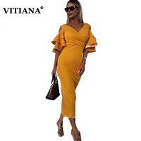 ingrosso formali gialli-VITIANA Women Sexy Party Dress Donna 2019 Primavera Autunno Scava fuori manica a farfalla Giallo vino verde Abiti formali solidi
