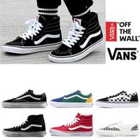 Wholesale vans shoes canvas for sale - Original Vans old skool sk8 hi mens  womens canvas 3431e4c001a