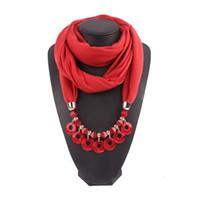 patrones para collares al por mayor-Colgantes Collares Joyería Redonda Bufanda Mujer / Damas Nueva Moda Sólido Patrón Vintage Accesorios Femeninos 170 * 40 CM