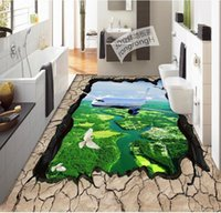 Wholesale airplane decor for sale - Group buy 3d wallpaper for kitchen Airplane overlook landscape D floor picture wall papers home decor for kids