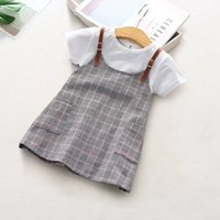Wholesale teenagers party dresses resale online - 2019 FashionToddler Kid Baby girls summer dresses Plaid Printed Party Princess outfit Clothing teenager plaid dress