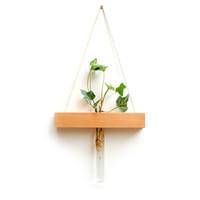 florero hecho a mano florero al por mayor-Tubo de ensayo de vidrio de madera Jarrón de pared Planta hidropónica Maceta Jardinería hecha a mano Decoración para el hogar Ornamento creativo Colgante