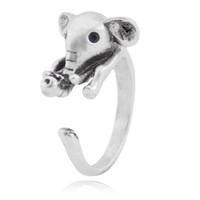 ingrosso regali unici di elefanti-Anello elefante Babay carino per donna Midi Anello da dito Boho Coppia animale Anelli per ragazze Uomo Gioielli Idea regalo unica