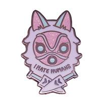 ich zitiere großhandel-Prinzessin Mononoke Anstecknadel San Wolf Maske Brosche Ich hasse Menschen Zitate Abzeichen coole Geschenke Jacke Tasche Zubehör