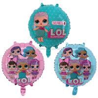 décoration gratuite de tablette de cupcake de mariage achat en gros de-18 Pouce LOL Poupée Feuille Ballons De Bande Dessinée Cartoon Décoration De Fête D'anniversaire De Mariage Inflatable Ballons à Air Classiques Jouets