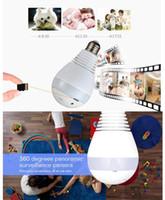 ev cctv kamera sistemi toptan satış-WiFi Ampul güvenlik kameraları 2MP 1080P 360 ° Panoramik Gözetim ev güvenlik kamera sistemi, kablosuz IP CCTV bebek monitörü kamera