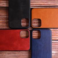 materiais para iphone venda por atacado-Apple iphone pele de couro caso de Luxo 11 pro Max com material 2em1 macio TPU