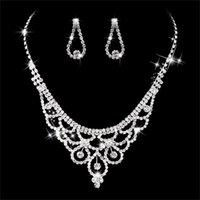 conjuntos de joyas de novia zirconia al por mayor-Canner Cubic Zirconia Conjuntos de joyería de boda Incrustaciones de lujo Pendientes de cristal Collares Conjunto de joyería nupcial