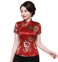 chemise en soie chinoise traditionnelle achat en gros de-Shanghai Story 2019 Cheongsam Chemise Qipao Haut À Manches Courtes Chinois Traditionnel Haut Faux Soie Chinois Blouse Pour Femmes