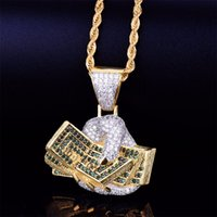 Wholesale money rope for sale – best Hand with Money Dollar Gold Necklace Pendant Rope Chain Gold Silver A Cubic Zirconia Hip hop Rock Jewelry