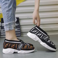 designer-müßiggänger schuhe großhandel-FF Letters Frauen Socken Turnschuhe Designer Schuhe Speed Trainer wehrt Marke Breath Loafers erhöhte sich innerhalb Strick beiläufige Socken Schuhe B81405