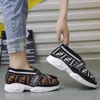 zapatos mocasines de diseño al por mayor-FF Letters Mujeres Calcetines Zapatillas de deporte Zapatos de diseñador Speed Trainer Fends Mocasines transpirables de la marca Aumento dentro de los zapatos de calcetines casuales de punto B81405