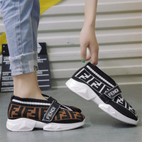 Wholesale wholes shoes resale online - FF Letters Women Socks Sneakers Designer Shoes Speed Trainer Fends Brand Breathable Loafers Increased within Knit Casual Sock Shoes B81405