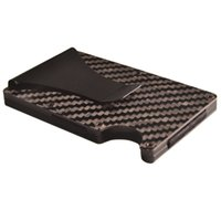 зажим углеродного волокна оптовых-Carbon fiber wallet aerospacestrong aluminium clip elastic band hold credit  nfc protection