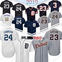 kaplanlı beyzbol formaları toptan satış-Detroit Beyzbol Jersey Tigers 23 Kirk Gibson 24 Miguel Cabrera 3 Alan Trammell Beyzbol Formalar En kaliteli