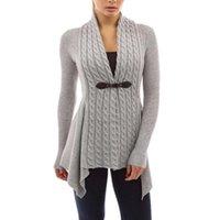 camisolas de crochê para mulheres venda por atacado-2018 mão de malha Cardigans Mulheres Brasão Outono Inverno manga comprida Magro Sweater Mulheres Poncho Sashes Crochet Cardigan