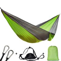 Wholesale adult single beds resale online - Single Double Hammock Adult Outdoor Backpacking Travel Survival Hunting Hanging Sleeping Bed Portable With Straps Carabiner