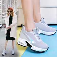 ingrosso cuneo sneakers altezza in aumento-Hot Sale-Fashion Air Mesh Height Increased Casual Shoes Woman Breathable Lace Up Platform Sneakers Hide Heels Women Wedge Sneakers