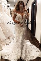 Wholesale trumpet wedding dress cathedral for sale - Group buy Gorgeous Lace Mermaid Wedding Dresses With Long Sleeve Off Shoulder Cathedral Train Arabic Beach Garden Trumpet Wedding Gown