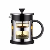 panela de chá de viagem venda por atacado-Aço inoxidável portátil Francês Tea Imprensa Coffee Pot fabricante de máquinas Moka com filtro Filtro de viagem Borosilica vidro Cafeteira