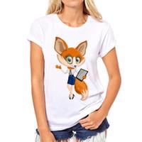 tilki gömlekli kadın toptan satış-Yaz Red Fox tişört Kadın Üst Casual Hayvan Sevimli Fox Komik Beyaz Karikatür Gömlek Tees yazdır Tops