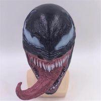 латексная маска ужаса оптовых-New  The Venom Mask with Long Tongue Cosplay  Edward Brock Dark Superhero Helmet Venom Latex Horror Mask