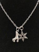Wholesale skating charm resale online - HOT Antique Silver Beautiful Snowflake skates Pendants Necklaces Charm Fashion Women Jewelry Holiday Charms Jewelry Gift