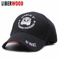 eski ordu şapkaları toptan satış-LIBERWOOD SWAT kartal Işlemeli memuru kap ABD Vintage Beyzbol Topu Kap erkekler swat Dimi snapback şapka için ABD ordusu şapka