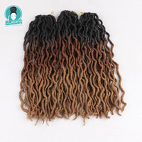 Wholesale ombre curly braiding hair for sale - Ombre Faux Locs Curly inch roots Kanekalon Soft Crochet Braids Synthetic Braiding Hair Extensions