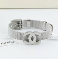 titan gürtelschnallen großhandel-Top-Qualität Gurt Armband Gurt klassische europäische und amerikanische Mode Mesh Gürtelschnalle Titan Stahl Armband Liebhaber Schmuck