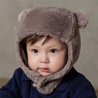 Wholesale baby hat cotton ear resale online - Winter Warm Children Bomber Hat New Baby Cute Ear Protection Cap Cotton Inner Kids Earmuffs Earflap Boy Girl Hat Covers MZ8358