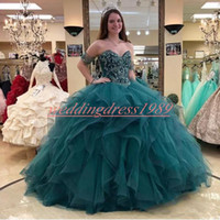 Wholesale girls size 16 ball gowns for sale - Group buy Glamorous Beads Crystal Sweetheart Quinceanera Dresses Ball Tiered Tulle A Line Sweet Plus Size Girl Prom Party Dress Formal Gowns Train