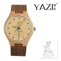 счастливые часы оптовых-YAZI DIY Деревянные Часы Princess Lucky Logo Кварцевые Часы Натуральный Деревянный Полосой Ремешок Бамбуковый Деревянный Корпус Наручные Часы Памяти Подарок