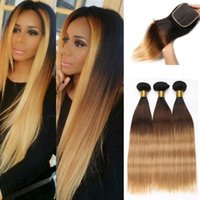 Wholesale shipping hair virgin resale online - Ombre Human Hair Bundles With Closure a Grade Brazilian Virgin Straight Hair Bundles With Closures Remy Beyo