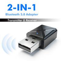 mini bluetooth ses alıcısı toptan satış-Flaş 2In1 USB Kablosuz Adaptörü Bluetooth 5.0 Ses Alıcısı Verici Mini 3.5mm AUX Stereo Bluetooth Verici TV PC Araba Için adaptörü