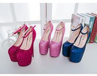ingrosso vestito super sexy da ballo-New Women Super High Dress Shoes 20cm Platform Plus Size 43 Pumps Sexy Night Club Party Paillettes Scarpe